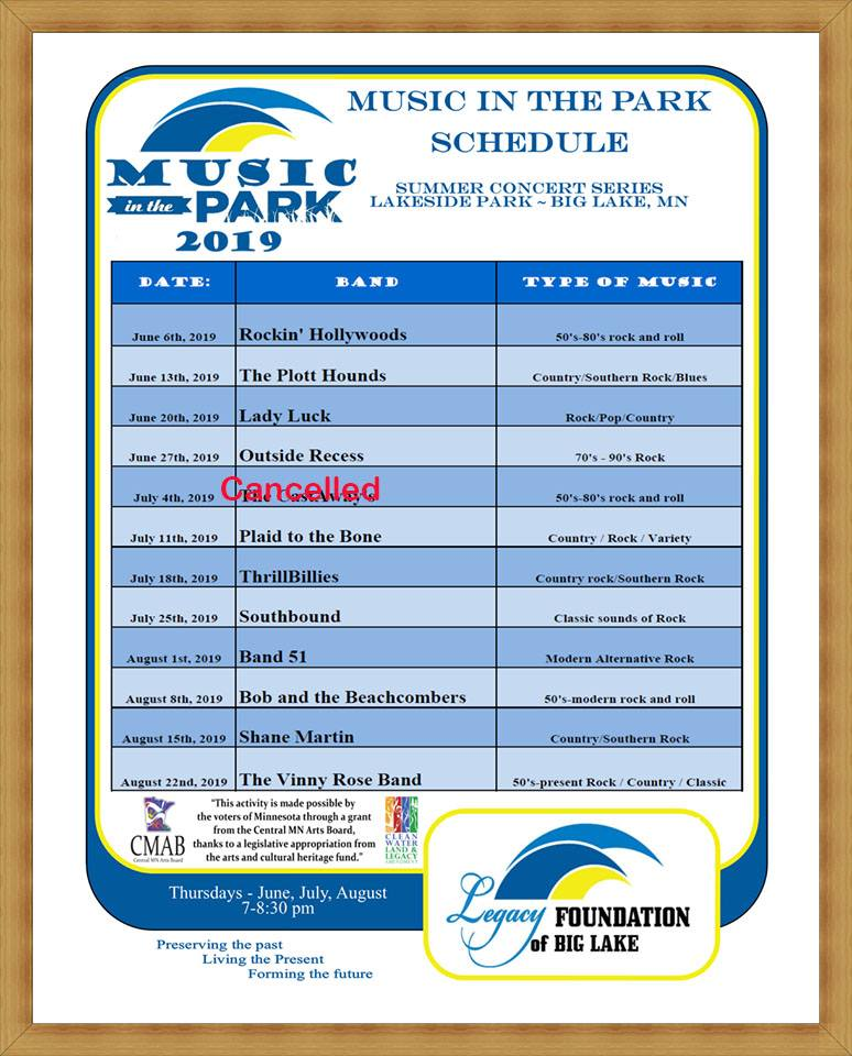 Music in the Park Schedule Updated